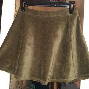 Cute A Line Army Green Corduroy Skirt